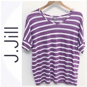 J. Jill Purple Striped Linen Dolman Top XL